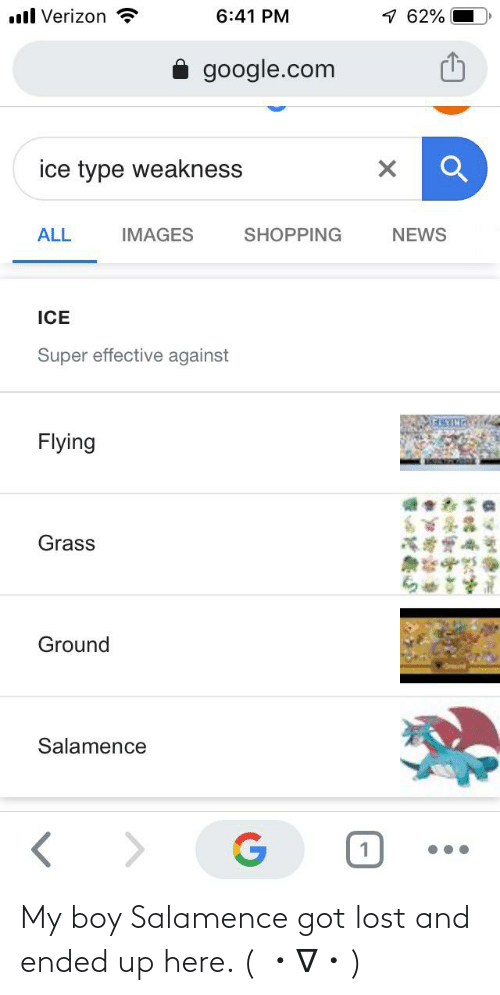 Salamence: 1 62%  ll Verizon  6:41 PM  google.com  ice type weakness  NEWS  ALL  IMAGES  SHOPPING  ICE  Super effective against  Flying  Grass  Ground  Salamence  .. My boy Salamence got lost and ended up here. ( ・∇・)
