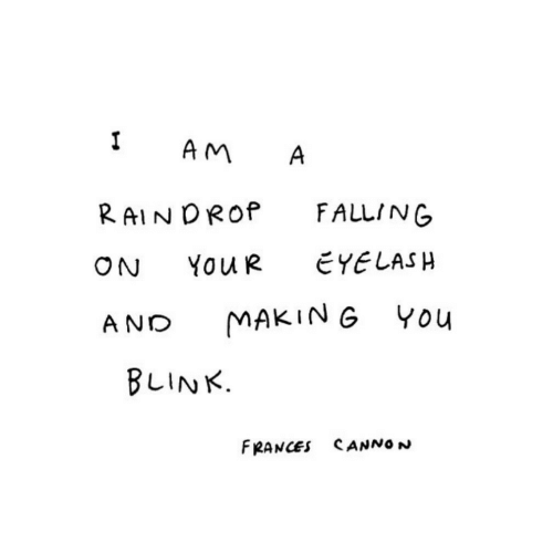 Eye, Blink, and You: 1 AM A  RAINDROP FALLING  ON YouR EYE LASH  AND MAKING You  BLINK.  FRANCES SANNON