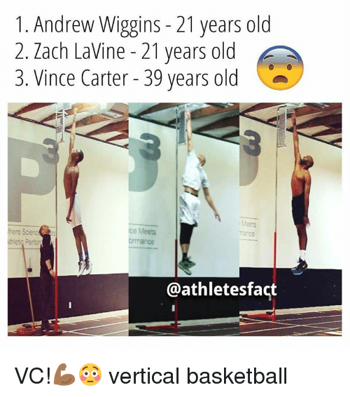 Andrew Wiggins: 1. Andrew Wiggins 21 years old  2. Zach LaVine 21 years old  3. Vince Carter 39 years old  Meets  here Scienc  e Meets  mance  thlet Perform  @athletes fact VC!💪🏾😳 vertical basketball