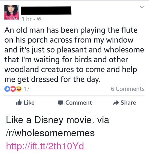 "woodland: 1 hr.e  An old man has been playing the flute  on his porch across from my window  and it's just so pleasant and wholesome  that I'm waiting for birds and other  woodland creatures to come and help  me get dressed for the day.  003 17  6 Comments  Like  Comment  Share <p>Like a Disney movie. via /r/wholesomememes <a href=""http://ift.tt/2th10Yd"">http://ift.tt/2th10Yd</a></p>"