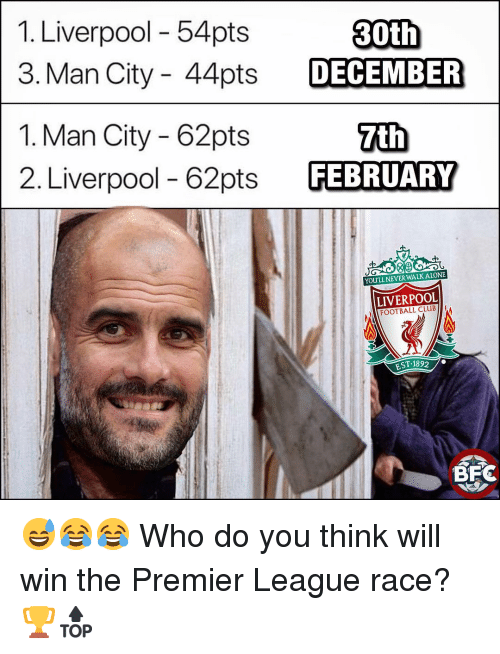 Club, Football, and Memes: 1. Liverpool - 54pts  3. Man City - 44pts DECEMBER  1. Man City - 62pts  2. Liverpool - 62pts FEBRUARY  YOULL NEVER WALKALONE  LIVERPOOL  FOOTBALL CLUB  EST-1892  .  BFC 😅😂😂 Who do you think will win the Premier League race?🏆🔝