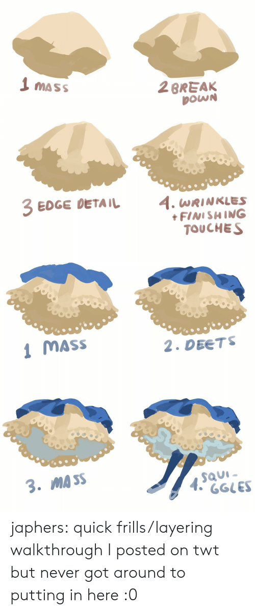 Target, Tumblr, and Blog: 1 mass  2BREAK  DOWN  EDGE DETAIL 4. WRINKLES  FINISHING  TOUCHES   MASS  2. DEETS  MA SS japhers:  quick frills/layering walkthrough I posted on twt but never got around to putting in here :0