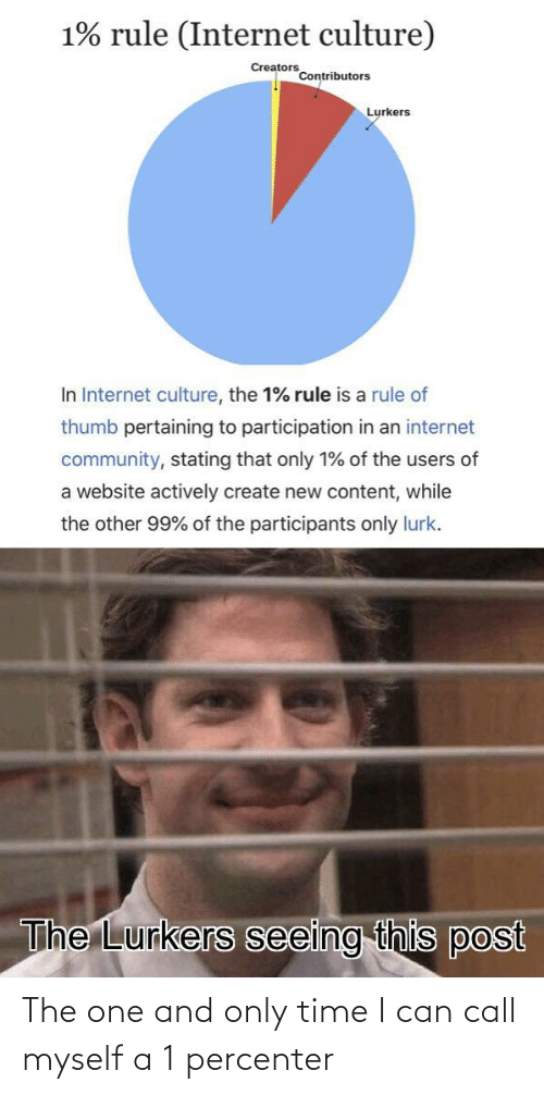 create: 1% rule (Internet culture)  Creators  Contributors  Lurkers  In Internet culture, the 1% rule is a rule of  thumb pertaining to participation in an internet  community, stating that only 1% of the users of  a website actively create new content, while  the other 99% of the participants only lurk.  The Lurkers seeing this post The one and only time I can call myself a 1 percenter