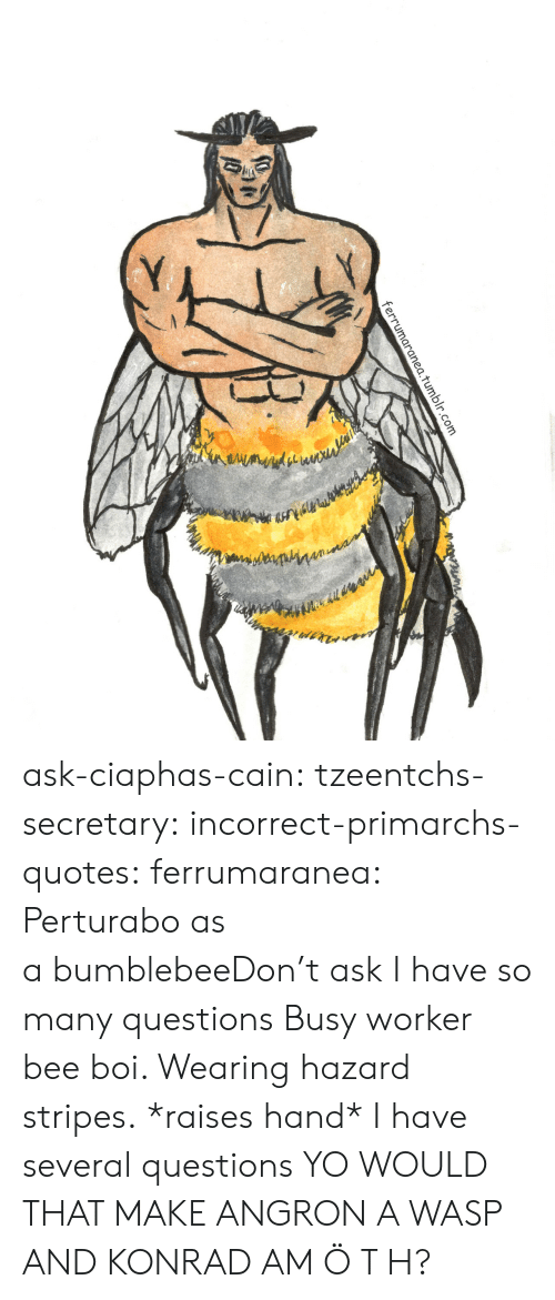 hazard: 1.tumblr.com ask-ciaphas-cain:  tzeentchs-secretary:  incorrect-primarchs-quotes:  ferrumaranea:  Perturabo as a bumblebeeDon't ask  I have so many questions   Busy worker bee boi. Wearing hazard stripes.  *raises hand* I have several questions  YO WOULD THAT MAKE ANGRON A WASP AND KONRAD AM Ö T H?