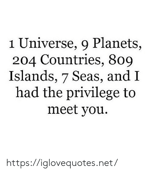 universe: 1 Universe, 9 Planets,  204 Countries, 809  Islands, 7 Seas, and I  had the privilege to  meet you https://iglovequotes.net/