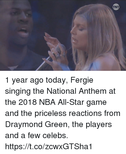 NBA All-Star Game: 1 year ago today, Fergie singing the National Anthem at the 2018 NBA All-Star game and the priceless reactions from Draymond Green, the players and a few celebs. https://t.co/zcwxGTSha1