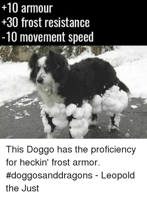 Proficious: +10 armour  30 frost resistance  -10 movement speed This Doggo has the proficiency for heckin' frost armor. #doggosanddragons  - Leopold the Just