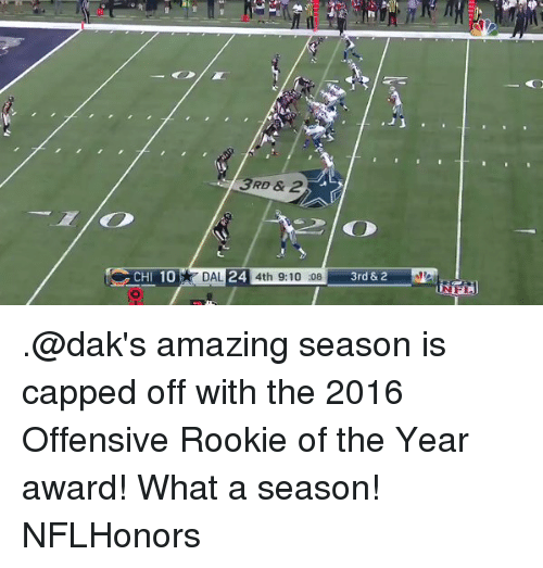 Rooky: 10  CH  3RD & 2  DAL  24  4th 9:10:08  3rd & 2 .@dak's amazing season is capped off with the 2016 Offensive Rookie of the Year award! What a season! NFLHonors