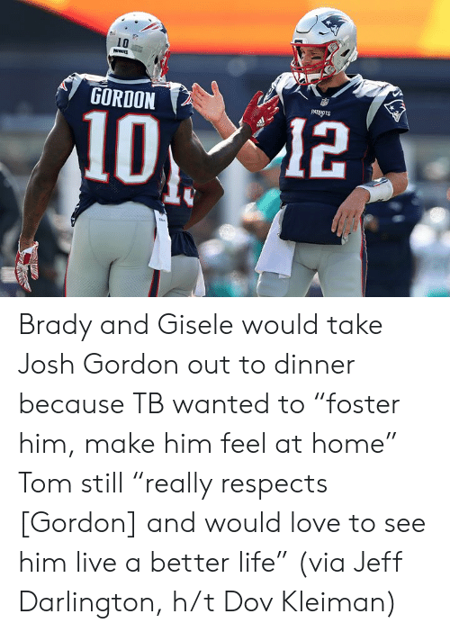 "H T: 10  GORDON  PATRIOTS  12 Brady and Gisele would take Josh Gordon out to dinner because TB wanted to ""foster him, make him feel at home""  Tom still ""really respects [Gordon] and would love to see him live a better life""  (via Jeff Darlington, h/t Dov Kleiman)"