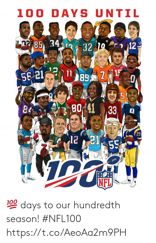 Days To: 100 DAYS UNTIL  85 34  32  12  12  32  80%41  , 33, , a  20  29  NFL 💯 days to our hundredth season! #NFL100 https://t.co/AeoAa2m9PH