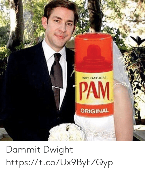 Pam, Dwight, and Natural: 100% NATURAL  PAM  ORIGINAL Dammit Dwight https://t.co/Ux9ByFZQyp