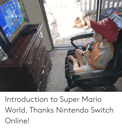 Nintendo, Super Mario, and Mario: 100  NERICA  PREAT  Pno  INSIGNIA  SELECT Button START Button +Suspend Menu (Press and hold to rewind Introduction to Super Mario World. Thanks Nintendo Switch Online!