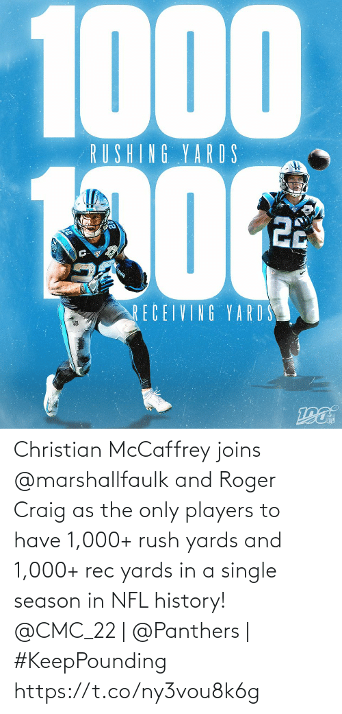 Panthers: 1000  RUSHING YARDS  22  RECEIVING YARD S Christian McCaffrey joins @marshallfaulk and Roger Craig as the only players to have 1,000+ rush yards and 1,000+ rec yards in a single season in NFL history!  @CMC_22 | @Panthers | #KeepPounding https://t.co/ny3vou8k6g