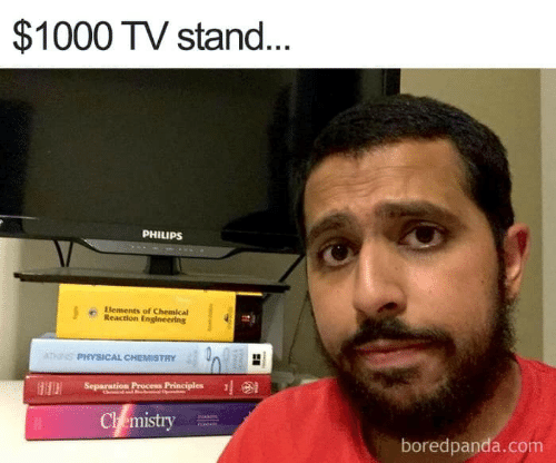 Engineering, Physical, and Com: $1000 TV stand.  PHILIPS  Elements of Chemical  Reaction Engineering  PHYSICAL CHEMISTRY 40  Separation Proce Principles  Ch emistry  boredpanda.com