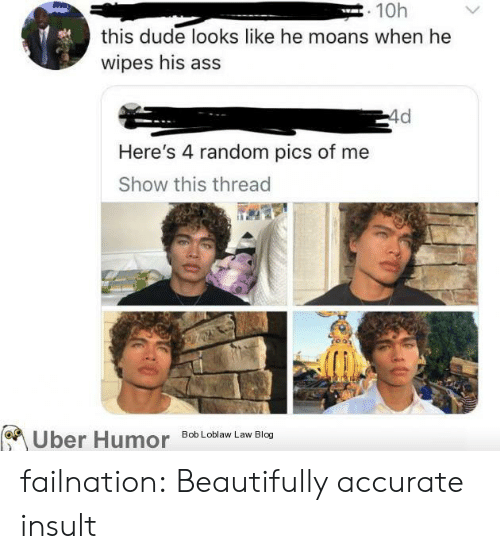 Ass, Dude, and Tumblr: . 10h  this dude looks like he moans when he  wipes his ass  4d  Here's 4 random pics of me  Show this thread  Bob Loblaw Law Blog  Uber Humor failnation:  Beautifully accurate insult