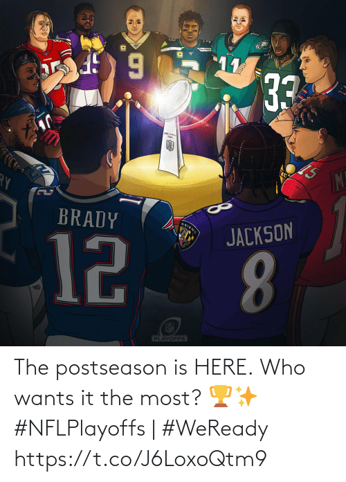 Texans: 11  33  TEXANS  Thawy  M!  BRADY  RAVENS  JACKSON  12  8.  FECE  NFL  PLAYOFFS The postseason is HERE.  Who wants it the most? 🏆✨  #NFLPlayoffs | #WeReady https://t.co/J6LoxoQtm9