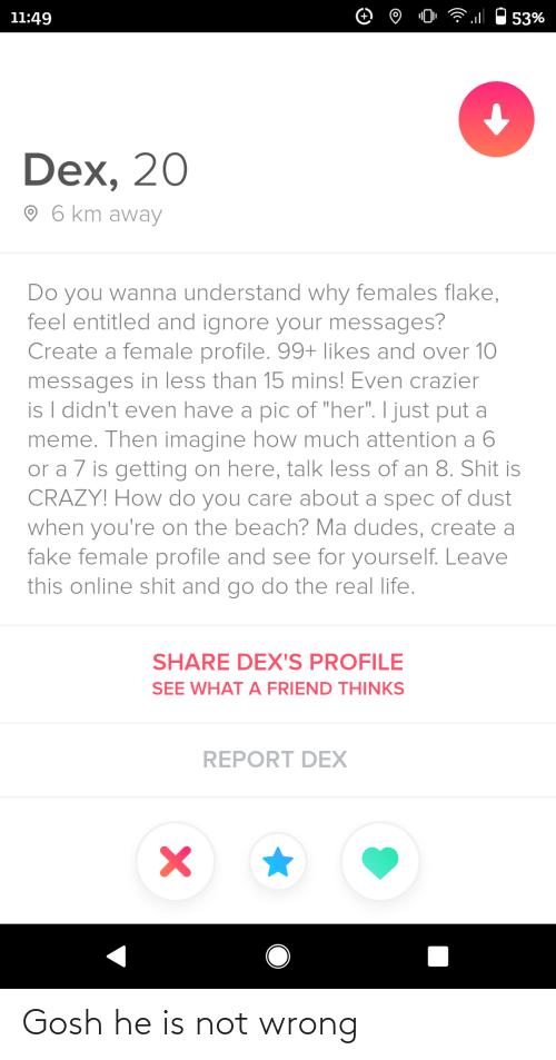 "mø: 11:49  53%  Dex, 20  O 6 km away  Do you wanna understand why females flake,  feel entitled and ignore your messages?  Create a female profile. 99+ likes and over 10  messages in less than 15 mins! Even crazier  is I didn't even have a pic of ""her"". I just put a  meme. Then imagine how much attention a 6  or a 7 is getting on here, talk less of an 8. Shit is  CRAZY! How do you care about a spec of dust  when you're on the beach? Ma dudes, create a  fake female profile and see for yourself. Leave  this online shit and go do the real life.  SHARE DEX'S PROFILE  SEE WHAT A FRIEND THINKS  REPORT DEX Gosh he is not wrong"