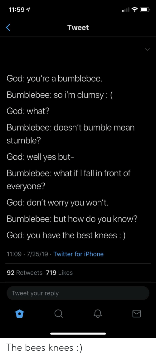 Clumsy: 11:59  Tweet  God: you're a bumblebee.  Bumblebee: so i'm clumsy: (  God: what?  Bumblebee: doesn't bumble mean  stumble?  God: well yes but-  Bumblebee: what if I fall in front of  everyone?  God: don't worry you won't.  Bumblebee: but how do you know?  God: you have the best knees :)  11:09 7/25/19 Twitter for iPhone  92 Retweets 719 Likes  Tweet your reply The bees knees :)