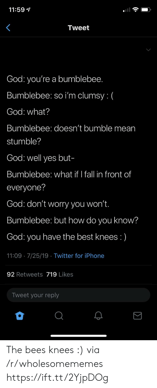 Clumsy: 11:59  Tweet  God: you're a bumblebee.  Bumblebee: so i'm clumsy: (  God: what?  Bumblebee: doesn't bumble mean  stumble?  God: well yes but-  Bumblebee: what if I fall in front of  everyone?  God: don't worry you won't.  Bumblebee: but how do you know?  have the best knees :)  God:  you  11:09 7/25/19 Twitter for iPhone  92 Retweets 719 Likes  Tweet your reply The bees knees :) via /r/wholesomememes https://ift.tt/2YjpDOg