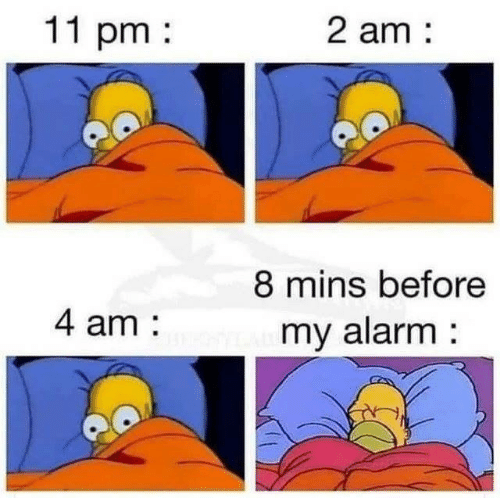 Alarm, Mins, and Before: 11 pm  2 am  8 mins before  4 am  my alarm