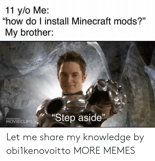 """Dank, Memes, and Minecraft: 11 y/o Me:  """"how do I install Minecraft mods?""""  My brother:  """"Step aside""""  FANDANGO  MOVIECLIPS Let me share my knowledge by obi1kenovoitto MORE MEMES"""