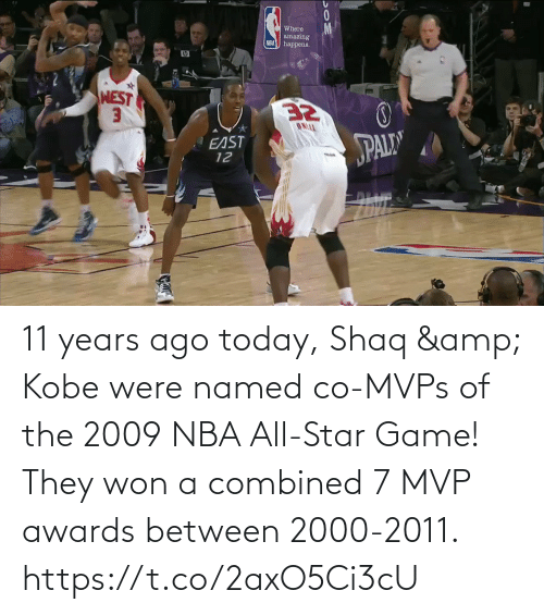 NBA All-Star Game: 11 years ago today, Shaq & Kobe were named co-MVPs of the 2009 NBA All-Star Game!   They won a combined 7 MVP awards between 2000-2011.  https://t.co/2axO5Ci3cU