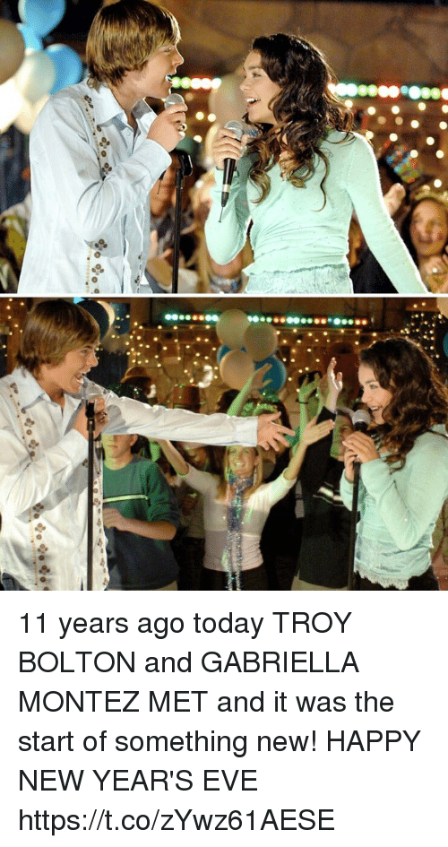 happy new years eve: 11 years ago today TROY BOLTON and GABRIELLA MONTEZ MET and it was the start of something new! HAPPY NEW YEAR'S EVE https://t.co/zYwz61AESE