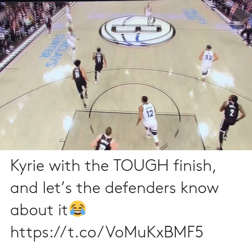 Defenders: 12  4CAYS  CENTR  nalk  CLAYS  CENTER Kyrie with the TOUGH finish, and let's the defenders know about it😂 https://t.co/VoMuKxBMF5