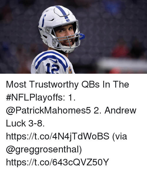 Andrew Luck, Memes, and Luck: 12 Most Trustworthy QBs In The #NFLPlayoffs:  1. @PatrickMahomes5  2. Andrew Luck 3-8. https://t.co/4N4jTdWoBS (via @greggrosenthal) https://t.co/643cQVZ50Y