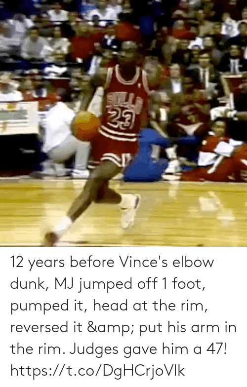 arm: 12 years before Vince's elbow dunk, MJ jumped off 1 foot, pumped it, head at the rim, reversed it & put his arm in the rim.   Judges gave him a 47!   https://t.co/DgHCrjoVlk