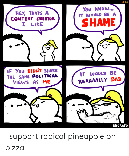 radical: 120  You KNOW...  IT WOULD BE A  HEY, THATS A  CONTENT CREATOR  I LIKE  SHAME  IF You DIDNt SHARE  IT WOULD BE  THE SAME POLITICAL  VIEWS AS ME  REAAAALLY BAD  SRGRAFO I support radical pineapple on pizza