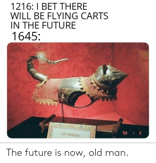 Future Is Now: 1216: I BET THERE  WILL BE FLYING CARTS  IN THE FUTURE  1645  CAT ARMOUR  6 86 The future is now, old man.
