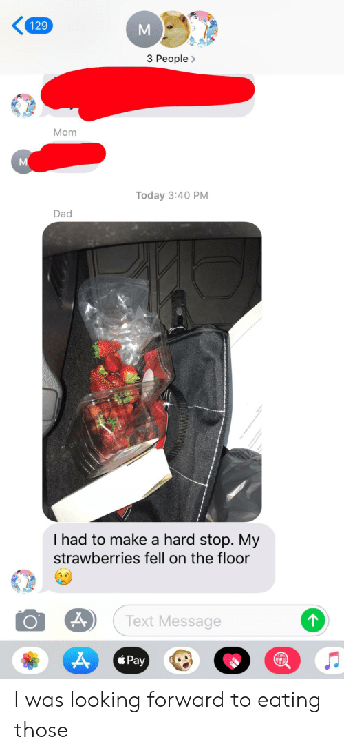 Dad, Text, and Today: 129  3 People>  Mom  Today 3:40 PM  Dad  I had to make a hard stop. My  strawberries fell on the floor  Text Message  *Pay I was looking forward to eating those