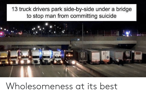 Best, Suicide, and Bridge: 13 truck drivers park side-by-side under a bridge  to stop man from committing suicide Wholesomeness at its best
