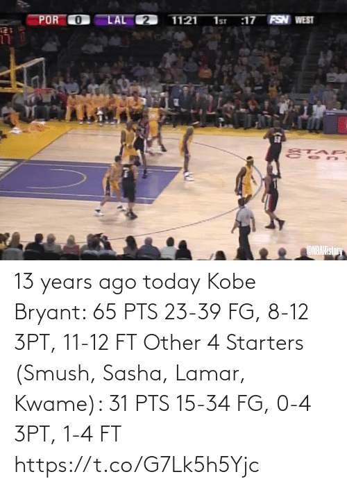 Kobe Bryant: 13 years ago today  Kobe Bryant: 65 PTS 23-39 FG, 8-12 3PT, 11-12 FT  Other 4 Starters (Smush, Sasha, Lamar, Kwame): 31 PTS 15-34 FG, 0-4 3PT, 1-4 FT   https://t.co/G7Lk5h5Yjc