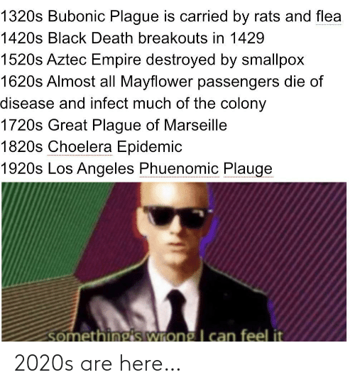 destroyed: 1320s Bubonic Plague is carried by rats and flea  1420s Black Death breakouts in 1429  1520s Aztec Empire destroyed by smallpox  1620s Almost all Mayflower passengers die of  disease and infect much of the colony  1720s Great Plague of Marseille  1820s Choelera Epidemic  1920s Los Angeles Phuenomic Plauge  somethings wrong I can feel it 2020s are here…