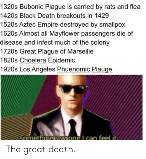destroyed: 1320s Bubonic Plague is carried by rats and flea  1420s Black Death breakouts in 1429  1520s Aztec Empire destroyed by smallpox  1620s Almost all Mayflower passengers die of  disease and infect much of the colony  1720s Great Plague of Marseille  1820s Choelera Epidemic  1920s Los Angeles Phuenomic Plauge  somethings wrong I can feel it The great death.