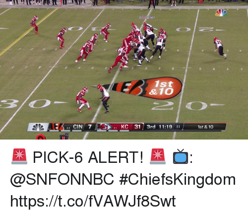 Memes, 🤖, and Cin: 14  2  1st  42 CIN 7  51 KC 31 3rd 11:19 11  1st & 10 🚨 PICK-6 ALERT! 🚨  📺: @SNFONNBC #ChiefsKingdom https://t.co/fVAWJf8Swt