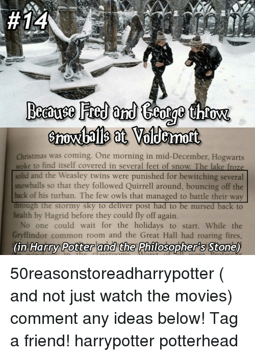 Bounc:  #14  red and tear throw.  Voldemort  Christmas was coming. One morning in mid-December, Hogwarts  woke to find itself covered in several feet of snow. The lake froze  solid and the Weasley twins were punished for bewitching several  snowballs so that they followed Quirrell around, bouncing off the  back of his turban. The few owls that managed to battle their way  through the stormy sky to  deliver post had to be nursed back to  health by Hagrid before they could fly off again  No one could wait for the holidays to start. While the  Gryffindor common room and the Great Hall had roaring fires  (in Harry Potter and the Philosopher's Stone) 50reasonstoreadharrypotter ( and not just watch the movies) comment any ideas below! Tag a friend! harrypotter potterhead