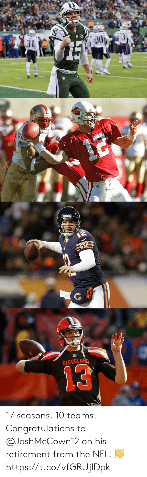 Memes, Nfl, and Cleveland: 15  30  ETS  31   12  GSH   CLEVELAND  13 17 seasons. 10 teams.  Congratulations to @JoshMcCown12 on his retirement from the NFL! 👏 https://t.co/vfGRUjIDpk