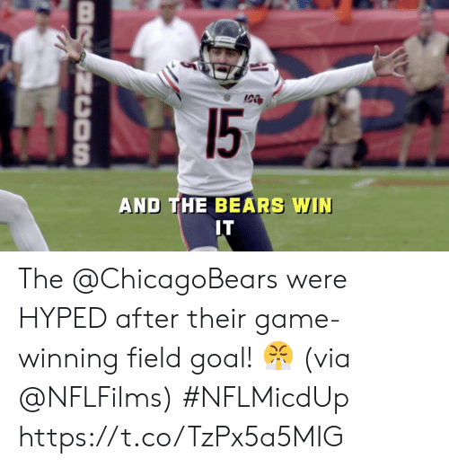 chicagobears: 15  AND THE BEARS WIN  IT  BRSNCOSn The @ChicagoBears were HYPED after their game-winning field goal! 😤  (via @NFLFilms) #NFLMicdUp https://t.co/TzPx5a5MIG