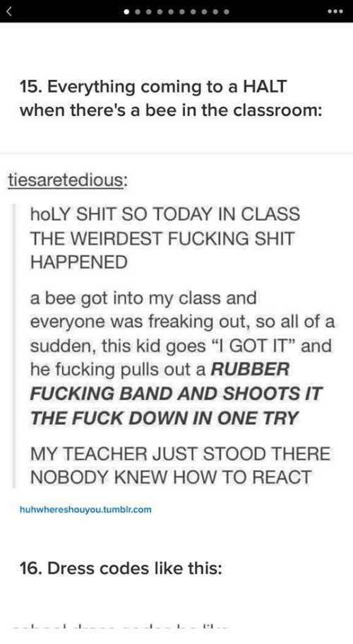 """freaking out: 15. Everything coming to a HALT  when there's a bee in the classroom:  tiesaretedious:  hoLY SHIT SO TODAY IN CLASS  THE WEIRDEST FUCKING SHIT  HAPPENED  a bee got into my class and  everyone was freaking out, so all of a  sudden, this kid goes """"I GOT IT"""" and  he fucking pulls out a RUBBER  FUCKING BAND AND SHOOTS IT  THE FUCK DOWN IN ONE TRY  MY TEACHER JUST STOOD THERE  NOBODY KNEW HOW TO REACT  huhwhereshouyou.tumblr.com  16. Dress codes like this:"""