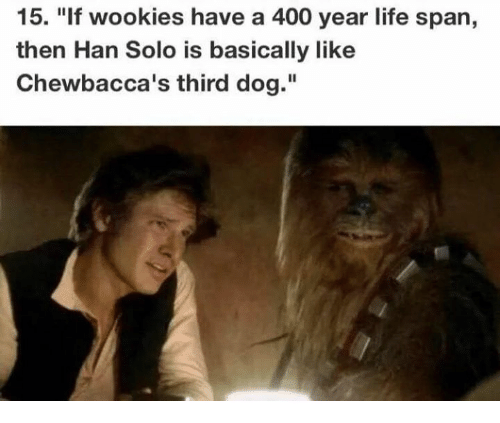 """Han Solo, Life, and Memes: 15. """"If wookies have a 400 year life span,  then Han Solo is basically like  Chewbacca's third dog."""""""