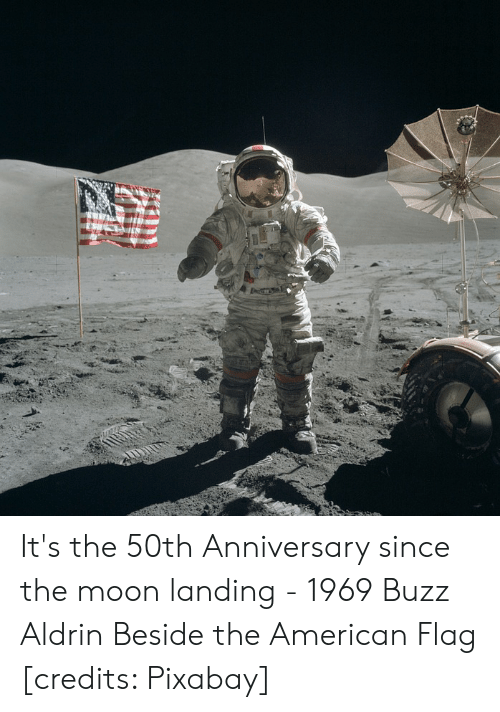 Buzz Aldrin, American, and American Flag: 15 It's the 50th Anniversary since the moon landing - 1969 Buzz Aldrin Beside the American Flag [credits: Pixabay]