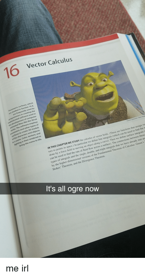Curving, Life, and Shrek: 16  Vector Calculus  surfaces, which  studied in Section 16.6,  are frequently used by  are  programmers in creating the  d in  sophisticated software use  the development of comput  animated films like the Shrek  employs  parametric and other types of  surfaces to create 3D models  of the characters and objects  in a scene. Color, texture, and  lighting is then rendered to  bring the scene to life.  Everett Collection / Glow Imags  IN THIS CHAPTER WE  STUDY the calculus of vector fields. (These are functions that assign ve  space.) In particular we define line integrals (which can be used to find the w  done by a force field in moving an object along a curve). Then we define surface integrals  can be used to find the rate of fluid flow across a surface). The connections between these  types of integrals and the single, double, and triple integrals that we have already met ar  by the higher-dimensional versions of the Fundamental Theorem of Calculus: Green's  Stokes' Theorem, and the Divergence Theorem  It's all ogre now me irl