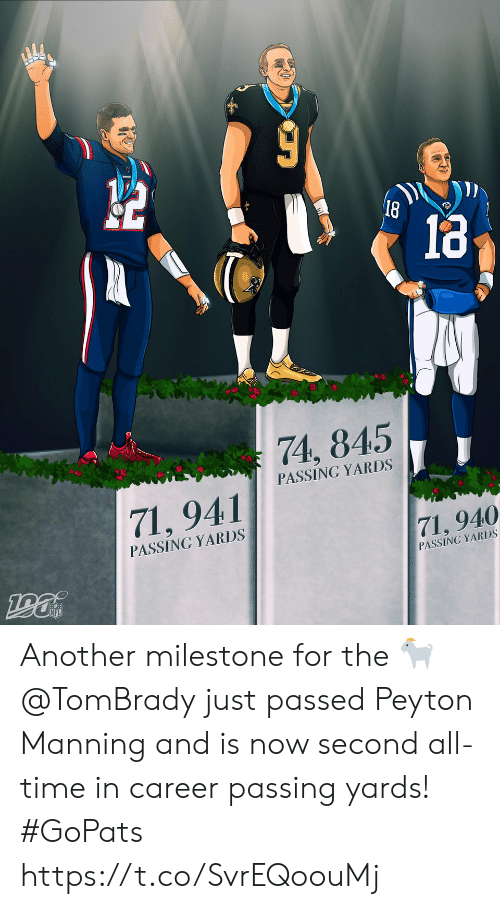 Peyton Manning: 18  74, 845  PASSING YARDS  71,941  PASSING YARDS  71, 940  PASSING YARDS Another milestone for the 🐐  @TomBrady just passed Peyton Manning and is now second all-time in career passing yards! #GoPats https://t.co/SvrEQoouMj