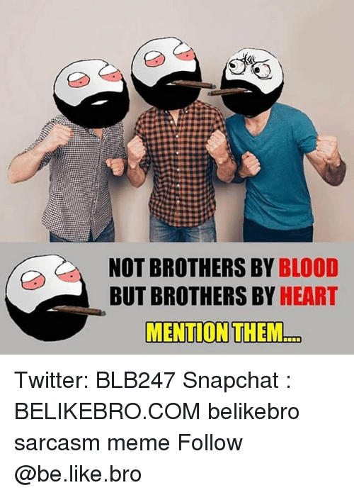 Mentiones: 18  NOT BROTHERS BY BLOOD  BUT BROTHERS BY HEART  MENTION THEM.. Twitter: BLB247 Snapchat : BELIKEBRO.COM belikebro sarcasm meme Follow @be.like.bro