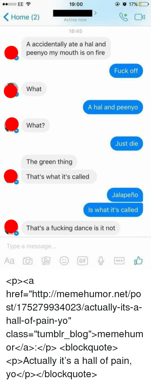 "Fire, Fucking, and Gif: 19:00  Home (2)  Active now  18:45  A accidentally ate a hal and  peenyo my mouth is on fire  Fuck oftf  What  A hal and peenyo  What?  Just die  The green thing  That's what it's called  Jalapeño  Is what it's called  That's a fucking dance is it not  Type a message.  じ)  (GIF <p><a href=""http://memehumor.net/post/175279934023/actually-its-a-hall-of-pain-yo"" class=""tumblr_blog"">memehumor</a>:</p>  <blockquote><p>Actually it's a hall of pain, yo</p></blockquote>"