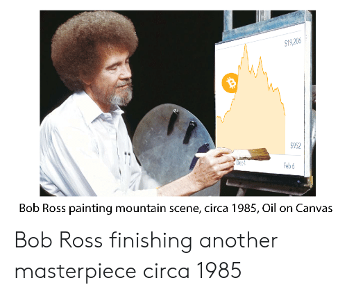 Bob Ross, Canvas, and Another: 19,206  $952  ec  Feb 6  Bob Ross painting mountain scene, circa 1985, Oil on Canvas Bob Ross finishing another masterpiece circa 1985