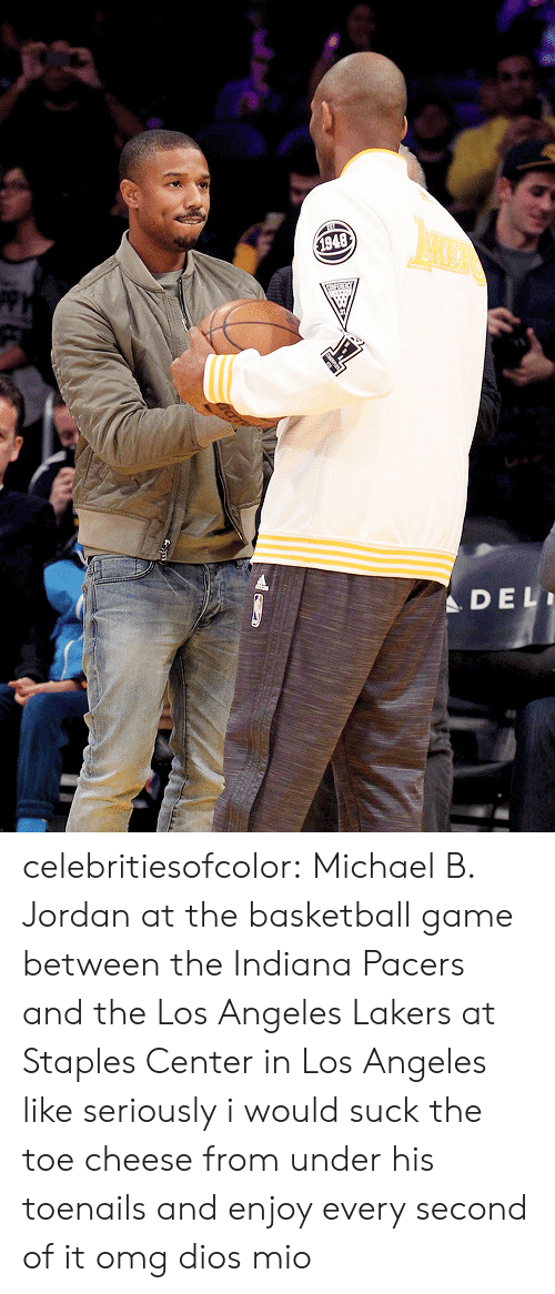 Staples Center: $1948  DEL celebritiesofcolor:  Michael B. Jordan at the basketball game between the Indiana Pacers and the Los Angeles Lakers at Staples Center in Los Angeles   like seriously i would suck the toe cheese from under his toenails and enjoy every second of it omg dios mio